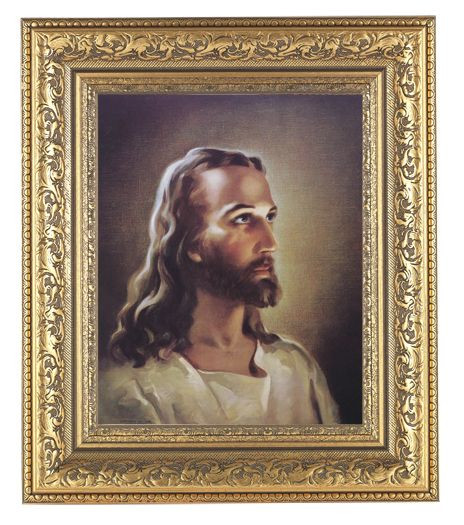 """Framed 8"""" x 10"""" Head of Christ. This llithograph is framed in a beautifully detailed ornate gold leaf frame.  Overall Dimensions of the framed picture are 12-1/2"""" x 14-1/2"""".   The lithograph of Christ's head measures 8"""" x 10"""". This framed Italian lithograph is under glass."""
