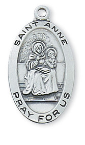 "1"" x 9/16"" Sterlng Silver Saint Anne Medal with engravable 20"" rhodium plated curb chain. Saint Anne is the patron saint of  mothers and grandmothers."