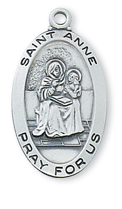 """1"""" x 9/16"""" Sterlng Silver Saint Anne Medal with engravable 20"""" rhodium plated curb chain. Saint Anne is the patron saint of  mothers and grandmothers."""