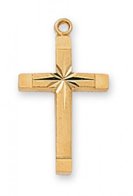 "Gold Over Sterling Silver Etched Cross. Etched Cross comes on an18"" Rhodium Plated Chain. Etched cross measures 1/2"" x 13/16"". Deluxe Gift Box Included."