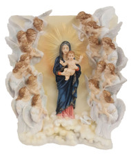 """A Veronese Queen of Angels Plaque. The Queen of Angels Plaque is in fully hand-painted color. The Veronese Queen of the angels measures 9.5x11.5""""."""