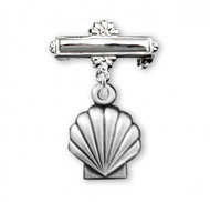 "Solid .925 Sterling Silver Baby Holy Baptism Shell Medal on a Bar Pin.  Dimensions of medal: 0.9"" x 0.4"" (24mm x 10mm). Weight of medal: 1.2 Grams. Presents in a deluxe velour gift box. Engraving on bar available.  12 letter maximum. Made in the USA"