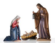 """From Demetz, Elegantly carved Holy Family from Italy.  Carved in Linden Wood or Cast in Fiberglass. Pieces range from 2 to 5 feet tall. Available Sizes: 24"""", 30"""", 36"""", 48"""", 60"""""""