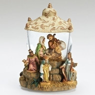 "Fontanini's Wind-Up Musical Holy Family and Three Kings Glitterdome Figurine. This Wind up Musical Three Kings Glitterdome has the Holy Family under the King's tent. This Three Kings Glitterdome  will add a whimsical element to your holiday décor. This 100% resin figurine plays an enchanting tune with a simple turn of the rotary switch.  Dimensions of the glitterdome are: 7.00""H 5.70""W 5.50""D.  Made of resin/water/metal and glass"