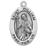 "Patron Saint of Adopted Children. Large oval St William medal is .925 solid sterling silver. St William medal comes on a 24"" genuine rhodium plated endless curb chain.  Dimensions: 1.1"" x 0.7"" (27mm x 17mm). Weight of medal: 2.8 Grams. Comes in a deluxe velour gift box. Engraving option available.  Made in USA"
