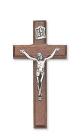 "Beveled Walnut Wall Cross with Silver Corpus.  Walnut Wall Cross with Silver Corpus comes in three sizes; 6"", 8""  or 10"". Packaged in a gift box. Ideal wedding or house warming present"