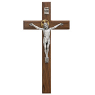 Beveled Walnut Crucifix with Silver Corpus and Gold Halo. Beveled Walnut Crucifix comes gift boxed.  Ideal gift for wedding or house warming.  Made in the USA