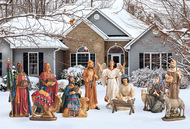 A new way to display a beautiful detailed and colorful outdoor nativity set. This is an all metal, 12 piece set with the tallest figure measuring 51 inches. It is designed to last for years and to be easy to ship and store. The all metal pieces are printed with high resolution paint that resists fading. The super high resolution images painted on flat metal give the remarkable illusion of pieces being three dimensional and the details - especially the faces - show with such clarity that the Christmas Story is truly brought to life. Set up is a snap and each piece comes with durable, three pronged stakes to anchor them in the ground. In addition, each piece comes with brackets intended to secure them in the wind. Available in full 12 piece set (RLN058) and a 4 piece Holy Family and Angel set (RLN059).