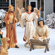 A new way to display a beautiful detailed and colorful outdoor nativity set. This is an all metal, 4 piece set with the tallest figure measuring 51 inches. It is designed to last for years and to be easy to ship and store. The all metal pieces are printed with high resolution paint that resists fading. The super high resolution images painted on flat metal give the remarkable illusion of pieces being three dimensional and the details - especially the faces - show with such clarity that the Christmas Story is truly brought to life. Set up is a snap and each piece comes with durable, three pronged stakes to anchor them in the ground. In addition, each piece comes with brackets intended to secure them in the wind. Also available in full 12 piece set (RLN058).