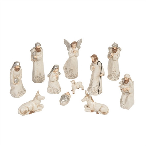 """Beautiful elegantly carved 11 piece Nativty. The silver and ivory nativity consists of 11 pieces. Dimensions:  3.75"""" L x 2.50"""" W x 8.25"""" H. The Elegantly Carved Silver and Ivory Nativity is made of resin. A beautiful addition to any nativity collection or starter set!"""