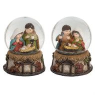 "Kid Nativity Snowglobe. Dimensions of the globe are: 4.25"" L x 4.25"" W x5.25"" H. Your choice of Mary in Blue Cloak or Mary in Red Cloak. Great Stocking stuffer!! Snowglobes are made of Glass, Water and Resin."