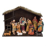 """Beautiful traditional 12 piece nativity. This Traditional Nativity with Wood Creche consists of 11 resin figures including the Holy Family, the Angel, Wisemen, Shepherd with Sheep and assorted animals. Dimensions:  18.90"""" L x 7.87"""" W x13.00"""" H. The Traditional Nativity and Creche is made of resin and wood. A beautiful addition to any nativity collection or starter set!"""