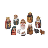 "Small Resin Nativity Figures. Dimensions of the figures range from:1.50"" L x 1.50"" W x3.50"" H.  Set includes the Holy Family, the Three Wisement, a Shepherd holding his Sheep, a Donkey, a Cow and a Lamb"