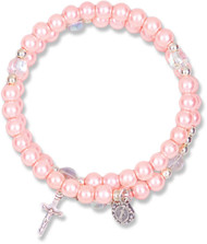 6mm Imitation Pink Pearl  Bead 5-Decade Spiral Wrap Rosary Bracelet. Wrap Rosary comes Carded.