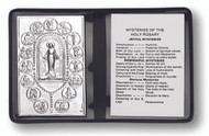 "2.5"" x 4"" Grained Leatherette Folder with Clear Soft Acetate Pockets. The leatherette folder contains an  Italian made metal plaque and the other side has the Mysteries of the Rosary."