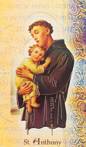 """St. Anthony Folder. Folder is a 2 Page Biography that inludes his name meaning, St. Anthony's attributes, a prayer to the saint and his feast day.  Two page Biography Folder is gold stamped Italian art. Folder measures 5.375"""" X 3.25""""."""
