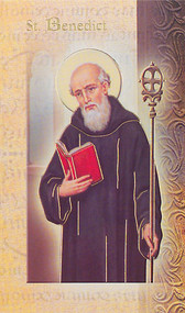 "St. Benedict Folder. Folder is a 2 Page Biography that inludes his name meaning, St. Benedict's attributes, a prayer to the saint and his feast day.  Two page Biography Folder is gold stamped Italian art. Folder measures 5.375"" X 3.25""."