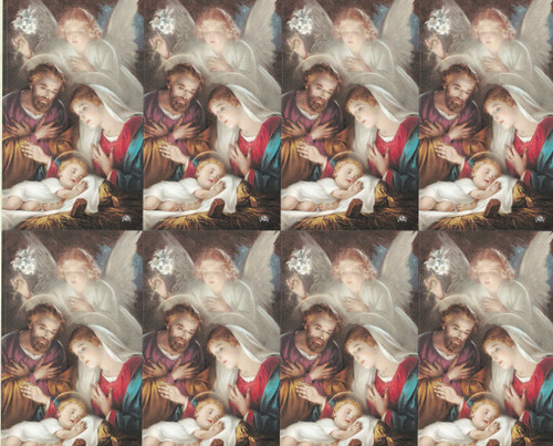 """Holy Family Microperforated Prayer Card.  Exquisite color pictures of Holy Family micro-perforated cards.  Size: 8 1/2"""" x 11"""" sheets with tab that separates into 2 1/2"""" x 4 1/4"""" each cards. 8 prayer cards in each sheet. Easy to print and separate them.  Made in Italy. Can be personalized. Lamination available at an additional cost."""