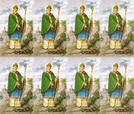 "St Patrick Prayer Cards. Bonella artwork is known throughout the world for its beautiful renditions of the Christ, Blessed Mother and the Saints. 8 1/2"" x 11"" sheets with tab that separates into 8- 2 1/2"" x 4 1/4"".   Cards that can be personalized.  Cards can also be laminated at an additional cost.  ( Price per sheet of 8)"