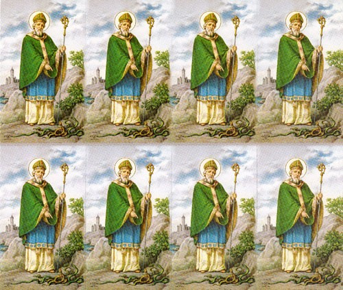 """St Patrick Prayer Cards. Bonella artwork is known throughout the world for its beautiful renditions of the Christ, Blessed Mother and the Saints. 8 1/2"""" x 11"""" sheets with tab that separates into 8- 2 1/2"""" x 4 1/4"""".   Cards that can be personalized.  Cards can also be laminated at an additional cost.  ( Price per sheet of 8)"""