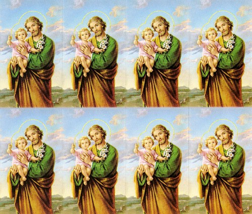 """St Joseph 8-UP Microperforated Holy Cards.  St Joseph Holy Card can be either laminated or paper.  Sheet measures 8.5"""" x 10"""". Individual cards measure 2.5"""" X 4"""". 8 cards per sheet. Blank back to add your personalized inscription. Can be laminated for an additional cost."""