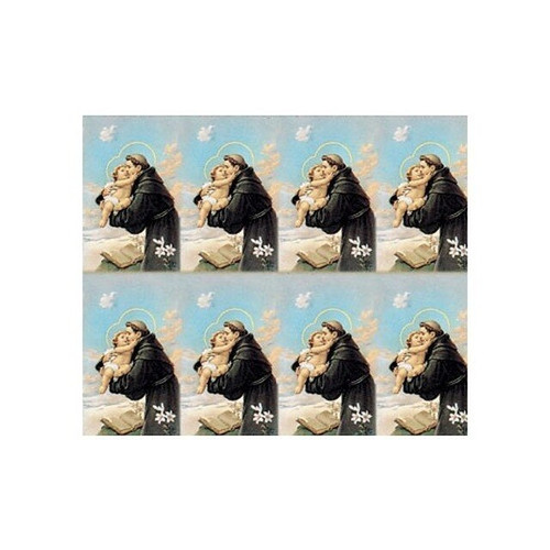 """St Anthony with Child  8-UP Microperforated Holy Cards. Sheet measures 8.5"""" x 10"""". Individual cards measure 2.5"""" X 4"""". 8 cards per sheet. Blank back to add your personalized inscription. Can be laminated for an additional cost."""