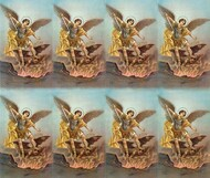 "St Michael 8-UP Microperforated Holy Cards. Sheet measures 8.5"" x 10"". Individual cards measure 2.5"" X 4"". 8 cards per sheet. Blank back to add your personalized inscription. Can be laminated for an additional cost."