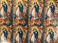 """The Immaculate Conception 8-UP Micro perforated Holly Cards. Bonella artwork is known throughout the world for its beautiful renditions of the Christ, Blessed Mother and the Saints. 8 1/2"""" x 11"""" sheets with tab that separates into 8- 2 1/2"""" x 4 1/4"""" c cards that can be personalized and laminated at an additional cost.  ( Price per sheet of 8)"""