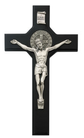 "10 1/2"" Black Stained St. Benedict Crucifix with Silver Corpus. Packaged in a deluxe gift box"
