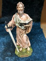 """Saint Paul Statue by Liscano.  This statue of Saint Paul is made in Colombia, South America. The statue of St. Paulhas been beautifully hand painted by the Widows of Colombian Violence.  It's measurements are  9""""H  x 3"""" round diameter base."""