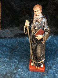 "A beautifully detailed and hand painted St Benedict Statue by Liscano. This statue of St Benedict is made in Colombia, South America. The statue of St Benedict has been beautifully hand painted by the Widows of Colombian Violence.It's measurements are  9""H  x 3"" round diameter base."