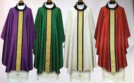 This Chasuble is made of a beautiful damask fabric that is decorated with a wealthy panel placed on velvet. The collar is made of velvet. Colors available: Purple, Green, Off White, Red