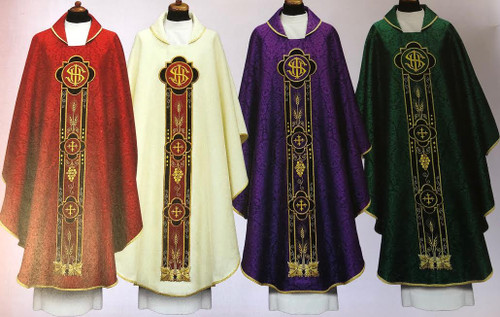 This embroidered Chasuble is made of a beautiful damask fabric that is decorated with satin and velvet applications.  Colors available: Purple, Green, Off White, Red
