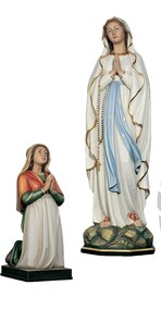 Wood Carved Statue in color, from Demetz Art Studio in Italy.  Statue is Hand Carved in Linden Wood, high relief, shown in traditional colors.  Available in multiple sizes and in fiberglass. Please inquire at 1.800.523.7604 for pricing. Each statue is sold separately