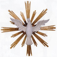 "Holy Spirit - Wood Carved Symbol - From Demetz Art Studio in Italy Hand Carved in Linden Wood,full round for suspending, shown in traditional colors, rays gilded with genuine gold leaves. Available in multiple sizes. Available Standard Sizes: Wood (Wingspan/Diameter) - 16""/20"", 24""/34"""