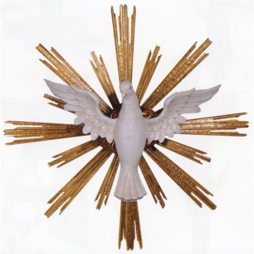 """Holy Spirit - Wood Carved Symbol - From Demetz Art Studio in Italy Hand Carved in Linden Wood,full round for suspending, shown in traditional colors, rays gilded with genuine gold leaves. Available in multiple sizes. Available Standard Sizes: Wood (Wingspan/Diameter) - 16""""/20"""", 24""""/34"""""""