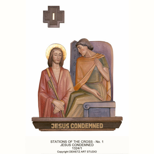 "Station 1 ~ Jesus Condemned.  Stations of the Cross Set of Figures by Demetz. Stations are cast in fiberglass. Sizes available:  8"" or 6"" cast in fiberglass. Overal all size 16"" x 12"" &  20"" x 15"" are carved in linden wood."