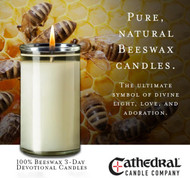 100% Beeswax 3-Day Devotional Candles ~ Case of 12 This 100% Beeswax 3-Day Devotional Candle is now available.  Made from only premium 100% Beeswax, this is a fitting candle for your at-home worship and devotion.