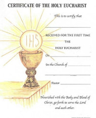 "200CM First Communion Certificate - 100 Per Box, 8"" x 10"".  The First Communion Certificates are available with or without plain white envelopes. Please specify when ordering."
