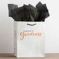 """This 'Simple Goodness' medium gift bag with tissue wraps gifts with style! Its weathered-look design and foil lettering suits all occasions.  Message: Simple Goodness  Scripture: (either side of gift bag) Every good and perfect gift is from above. James 1:17 CSB  Product Details:  Size: 7 3/4""""W x 9 3/4""""H x 4 3/4""""D Medium specialty gift bag CSB Scripture text Gift bag features soft rope handle, foiling, and coated paper Coordinating tissue included; two sheets"""