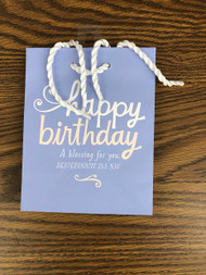 "Wrap birthday gifts quickly and beautifully with this inspiring gift bag—perfect for jewelry and other smaller-sized items! Message: A Birthday Blessing for You! Size:  6 5/8""H x 5 1/2""W x 3""D Specialty small bag Bag features foiling Sturdy rope handle Coated paper"
