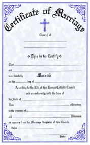 """Two Color Marriage Certificates. Certificates are available in English and Bilingual (Eng/Spanish) Each certificate measures: 6"""" x 9 1/4"""".  Imprinted Certificates are sold in pads of 50 certificates.  All Certificates are Printed on Acid-Free Paper for Long Life"""
