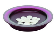 """The Sacred Series Bread Plate features a deep royal purple tray body with a textured Latin cross detail in the """"bas-relief"""" centered in the bottom of the well. Constructed of extremely durable polycarbonate. These plates are stackable. Holds 300+ round wafers or 500+ bread squares. Measurements: 9.5"""" x 1.5"""" high). Weight: 1 lb.  (Polycarbonate is a highly durable material. Although it has high impact-resistance, it has low scratch resistance - just like eyeglasses. Thus, Sacred Series communion ware won't break when dropped on the floor. Wash items in warm water and dry with a clean soft cloth. If needed, use mild liquid detergent or gentle hand soap.  This is a light weight product and thus is not difficult to pass from one person to the next during communion services)"""