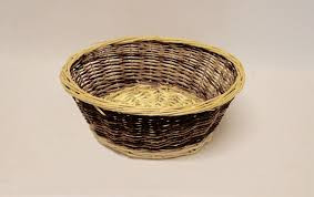 """This basket is a two tone round basket. The two tone basket measures 13"""" dia x 4 1/2"""" deep. Lightweight and easy to handle!"""