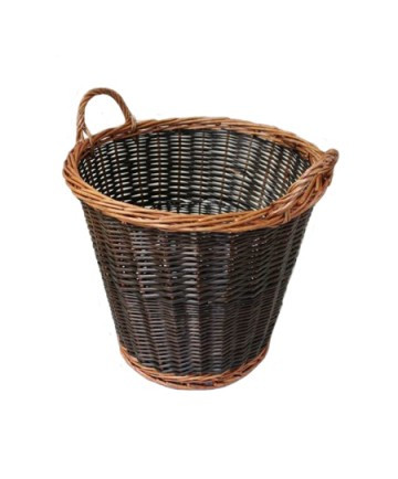 """Round two-tone overflow collection basket with unrefined wicker construction. Each measures 16"""" in diameter and 13"""" deep."""