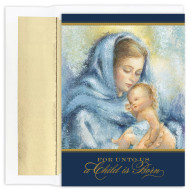 """This is a beautiful Christmas card featuring the MADONNA AND CHILD in gold foil and embossing. Inside Sentiment: """"MAY THE WONDERS OF HIS LOVE FILL YOUR HEART WITH JOY THIS CHRISTMAS AND ALL THROUGHOUT THE YEAR."""" 18 cards / 18 foil lined envelopes. Folded Card Size: 5.625 x 7.875. Packaged in a printed box with an inside fit acetate lid."""