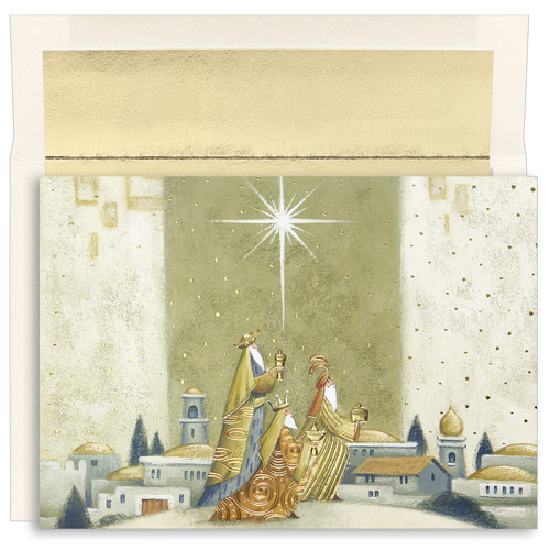 """Offering Gifts Boxed Christmas Cards. Offering Gifts Christmas Cards feature gold foil and embossed with clear UV glitter. Inside Sentiment: """"AS THE LIGHT OF GOD'S LOVE SHINES BRIGHTLY THIS CHRISTMAS, MAY WE PRAISE HIM FOR THE GIFT OF JESUS."""" 16 cards/16 foil lined envelopes. Folded Card Size: 5.625"""" x 7.875"""". Packaged in a printed box with an inside fit acetate lid."""