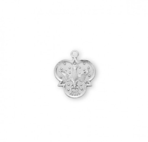 """Sterling Silver Holy Spirit Medal.  .925 Holy Spirit Medal comes on an 18"""" genuine rhodium plated curb chain.  Design on back of medal.  Dimensions: 0.8"""" x 0.7"""" (20mm x 18mm). Weight of medal: 2.3 Grams. Deluxe velvet gift box included.  Made in USA. Design on back of medal"""