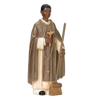 """St Martin de Porres 4in Figure. St Martin de Porres figure stands 4""""h and is made of resin. St Martin de Porres is the Patron Saint of Mixed Race, Barbers, Public Health Workers, and Innkeepers.  Feastday: November 3"""