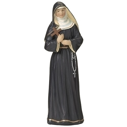 """St Rita of Cascia 4in Figure. St Rita of Cascia figure stands 4""""h and is made of resin. St Rita of Cascia is the Patron Saint of abuse victims, loneliness, marriage difficulties, parenthood, widows, the sick, bodily ills, and wounds.  Feastday: May 22"""